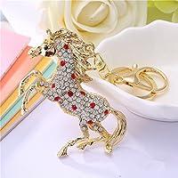 JewelBeauty Sparkling Running Horse Keychain Blingbling Crystal Rhinestone Purse Pendant Handbag Charm (red)