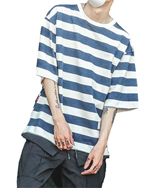 オーブン親密なの配列Infabe シンプル ボーダーTシャツ メンズ ティーシャツ シンプル 人気 七分袖