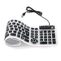 折りたたみ式 キーボード 有線 柔らかいシリコン製 英語配列107キー CHINFAI フルサイズ 薄型 PC用キーボード 持ち運び易い 防水防塵 静音設計 USB接続 (ブラック)