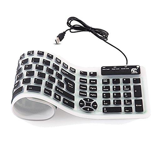 折りたたみ式 キーボード 有線 柔らかいシリコン製 英語配列1...