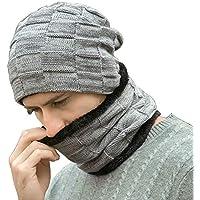 Fantastic Zone Winter Beanie Hats Scarf Set Warm Knit Hats Skull Cap Neck Warmer with Thick Fleece Lined Winter Hat & Scarf for Men Women