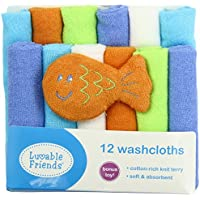 Luvable Friends 12 Washcloths In Bag with Bonus Toy, Blue by Luvable Friends