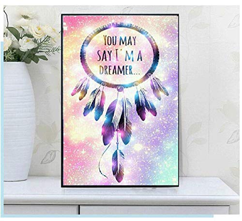 Leezeshaw 5D DIY Diamond Painting By Number Kits Fameless Rhinestone Embroidery Paintings Pictures For Home Decor - Dream Catcher(11.8x15.7inch/30x40cm)