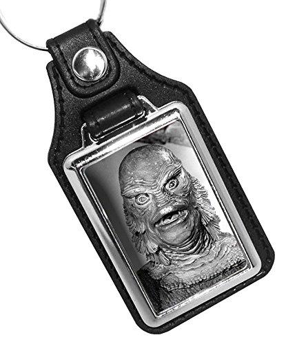 2つ1960's Movie Monsters Wolfman、ドラキュラ、フランケンシュタイン、Mummy and More Fauxレザーキーリング Creature of the Black Lagoon ブラック KR