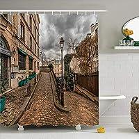 シャワーカーテン、3Dレトロ建築プリントバスモールドプルーフ&カビ耐性フック付き防水バスルームカーテン、ポリエステル、180 x 180 cm,D