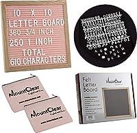 """10"""" x 10""""フェルトレターボードwith 3603/4インチ、2501」合計610ChangeableホワイトLetters–2つのファスナー付きpouches-プラスチックスタンドとメタルフック簡単の表示 10 x 10"""