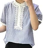(フムフム) fumu fumu レディースファッション トップス シャツ 白 レース 半袖 ブラウス レディース 花柄 3色 カットソー 大きいサイズ 刺繍 きれいめ ガーリー エレガント ホワイト ファッション サイズ ストライプ (C01. ブルー S )