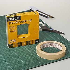 3M スリーエム マスキングテープ スコッチ ドラフティングテープ カッター付 紙箱入り 18mm×30m 230-3-18