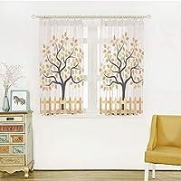 ロングカーテン 軽い薄い オシャレ お部屋が明るい!でもしっかり UVカット 外から見えにくい 幅150x丈108cm 2枚入 農場の家の装飾、日陰の落葉性秋の木の成長葉季節の背景、オレンジブラックの境界線
