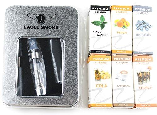 【電子タバコ】 USB充電式 お試しスターターキット <ブラック >+ 専用リキッド(5m×6種)セット アドミラル産業