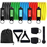 11PC Premium Resistance Bands Set, Workout Bands - with Door Anchor, Handles and Ankle Straps - Stackable Up to 100 lbs - for Resistance Training, Physical Therapy, Home Workouts, Yoga, Pilates