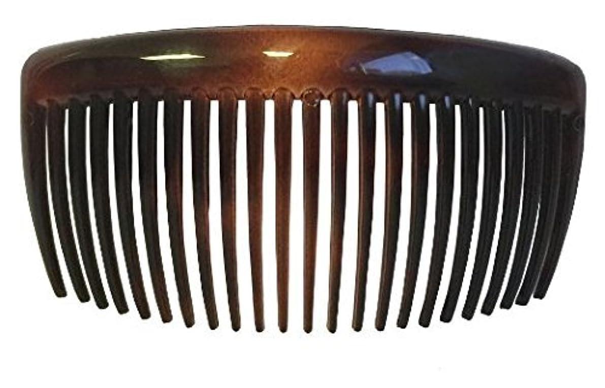 租界アルファベット順平らにするParcelona French Large 2 Pieces Glossy Celluloid Shell Good Grip Updo 23 Teeth Hair Side Combs 4.25 Inches for...