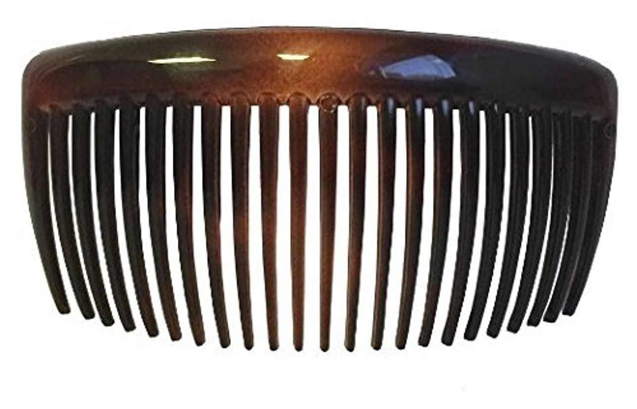 Parcelona French Large 2 Pieces Glossy Celluloid Shell Good Grip Updo 23 Teeth Hair Side Combs 4.25 Inches for...
