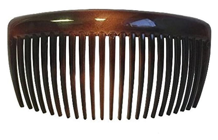 つぶす炭素悲しむParcelona French Large 2 Pieces Glossy Celluloid Shell Good Grip Updo 23 Teeth Hair Side Combs 4.25 Inches for...