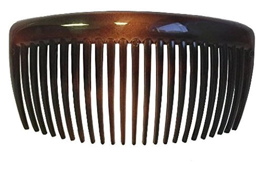 矩形ミンチメンタルParcelona French Large 2 Pieces Glossy Celluloid Shell Good Grip Updo 23 Teeth Hair Side Combs 4.25 Inches for...