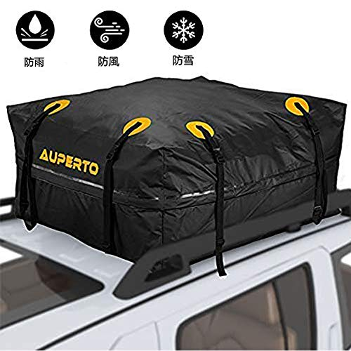 ルーフキャリアバッグ防水 AUPERTO カーゴバッグ 425L大容量 折り畳み 防水 防雨 95x95x46cm (ブラック)