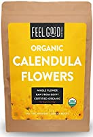 Organic Calendula Flowers - Whole - 120ml Resealable Bag - 100% Raw From Egypt - by Feel Good Organics