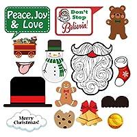 Besline クリスマス 写真小道具 DIY クリスマス 装飾 面白い 自撮りや写真小道具パック クリスマスや新年のパーティーに 仮装小道具 クリスマス用 イベント用 宴会用 17PCS