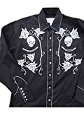 ロックマウント Skull and Rose Western Shirt RM6808-BLK/SIL (L)
