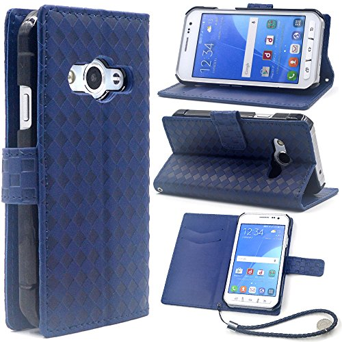 F.G.S ストラップ付き ダークブルー docomo Galaxy Active neo SC-01H ケース SC-01H カバー SC-01H 手帳 ケース スタンド機能付き カードホルダー付き 全5色 F.G.S正規代理品