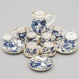 Odoria 1:12 Miniature 15PCS Blue Porcelain Chintz Tea Cup Set Dollhouse Kitchen Accessories