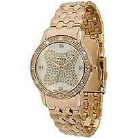 MoogパリGemスパークWomen 's Watch withシャンパンダイヤル、ローズゴールドステンレススチールストラップ&スワロフスキー要素–m45034–005