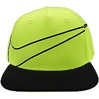 NIKE ナイキ ベビー 帽 ベビーキャップ オシャレ帽 野球帽 フラットバイザー - 蛍光イエロー×ブラック/infant=44~46cm