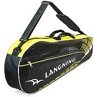 調整可能なショルダーストラップバドミントンラケットカバーバドミントンラケットバッグテニスバッグ(3ラケット)、黄