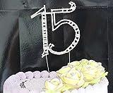 1ピース大銀メッキ番号15ラインストーンケーキトッパー卸売用誕生日パーティー