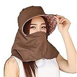 (リワード) REWARD 日焼け防止 帽子 日よけ帽 UVカット 紫外線対策 リバーシブル ネックカバー 日除け帽 (ブラウン)