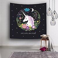 HYSENM Cute CartoonユニコーンタペストリーFairy Wall Hangingベッドスプレッド女の子キッズ寝室寮装飾Throw 80x59 Inches ブラック H-LSJJYP-01-187