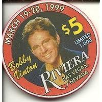 $ 5 Riviera Bobby Vinton Obsoleteラスベガスカジノチップ
