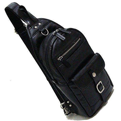 丁寧仕上げ・鞄 ボディバッグ メンズ 背面は通気性の良いメッ...