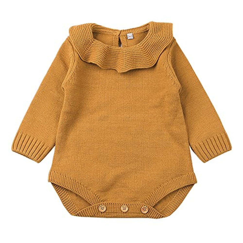 新生児 女の子 プリンセス ニット セーター ロンパース ジャンプスーツ ラッフル 長袖 洋服 (80cm/6~12ヶ月, ブラウン)