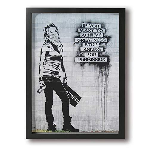 SKYHEART Graffiti If You Want To Achive Greatness, Not Banksy アートポスター アートパイル 壁アート ポスター インテリア装飾品 絵画 インテリア 風景画 壁掛け 現代壁の絵 引き越し Black