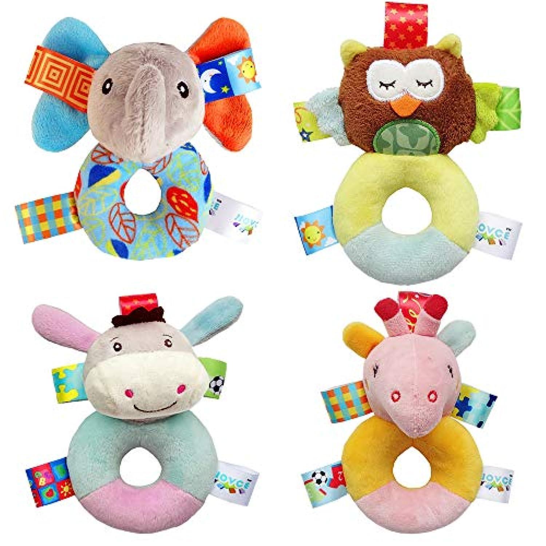 Daisy's dream 動物ぬいぐるみ ソフトラトル 4個セット 3 6 9 12ヶ月 新生児 幼児 発育 ハンドグリップ ベビードール ギフト おもちゃ