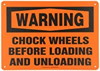 "Accuform MVHR331VP Plastic Safety Sign,Legend""WARNING CHOCK WHEELS BEFORE LOADING AND UNLOADING"",10"" Length x 14"" Width x 0.055"" Thickness,Black on Orange [並行輸入品]"