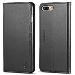iPhone 7 Plus ケース 手帳型 SHIELDON アイフォン7プラス カバー 本革 カードポケット スタンド機能付き マグネット式 ブラック