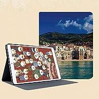 IPad mini1 mini2 mini3 ケース 手帳型 兼用型 IPad mini 1 / 2 / 3 カバー オートスリープ スタンド2段式の溝で自由に角度調節チェファル港の居心地の良い古い家シチリア地中海シーサイド山シースケープ