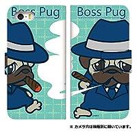 [arrows M02] スマホケース ケース デザイン手帳 アローズ エムゼロニ 8319-C. BossPug01エメラルド かわいい おしゃれ かっこいい 人気 柄 ケータイケース 谷口亮 taniguchi ryo イラスト