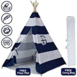 InnFinest Teepee Tent For Kids Foldable - Indoor Tipi Play Tents Playhouse Reading Nook - 4 Poles Cotton Canvas, Mat, Mesh Window, Carry Case - Toddler Baby Boy Girl Children Dog Adult Camping