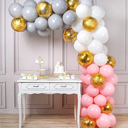 PartyWoo 風船 グレー ピンク、70個 4色 白い風船、バルーン ピンク、バルーン グレー、コンフェッティバルーン、誕生日 飾り付け、ベビーシャワー 女の子、バースデー 飾り、お祝い