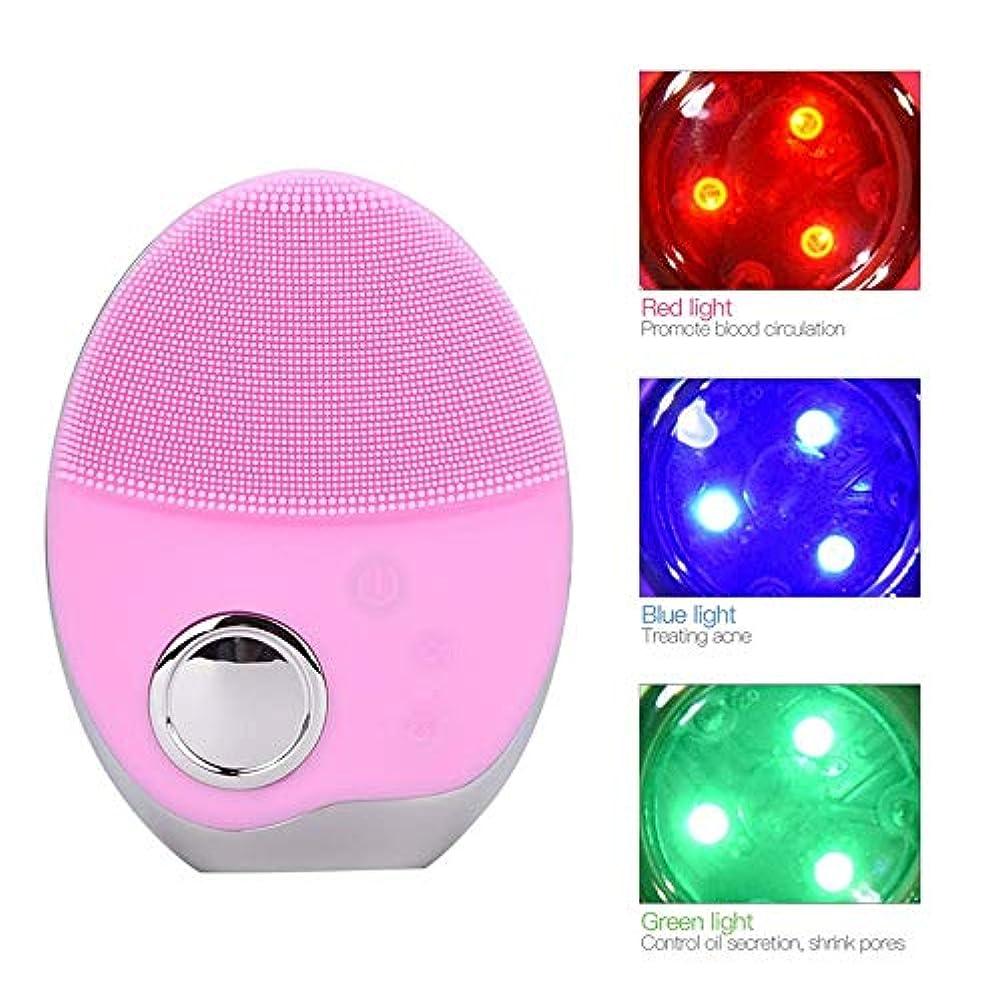 不規則性千恵みSOUTHTECH 光子活性化クレンジング器具 顔の清潔になるブラシ、3色LEDの光子ライトが付いている超音波無線充満表面剥離のブラシのシリコーンの防水マッサージャー 桜ピンク