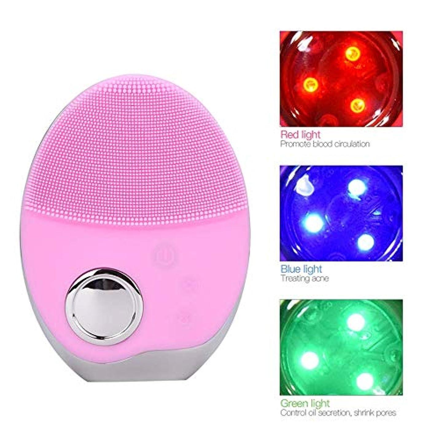散歩カッター谷SOUTHTECH 光子活性化クレンジング器具 顔の清潔になるブラシ、3色LEDの光子ライトが付いている超音波無線充満表面剥離のブラシのシリコーンの防水マッサージャー 桜ピンク