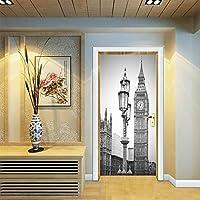 Star Moon Moo ドア用のステッカー 灰色 ロンドン 時計 壁飾り 壁紙 オシャレ 壁飾り ステッカー