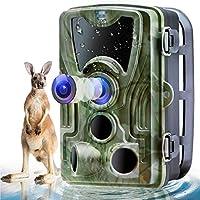 """Henf Trail Camera、16MP 1080Pゲーム野生生物狩猟用カメラ、最大80フィート、0.3秒のトリガースピード、2.0""""LCD 120°ワイドビューIP65防水カメラ"""