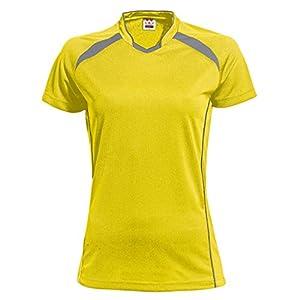 wundou(ウンドウ) ウィメンズ バレーボールシャツ 吸汗 速乾 イエローXダークグレー P1620 イエローXダークグレー M