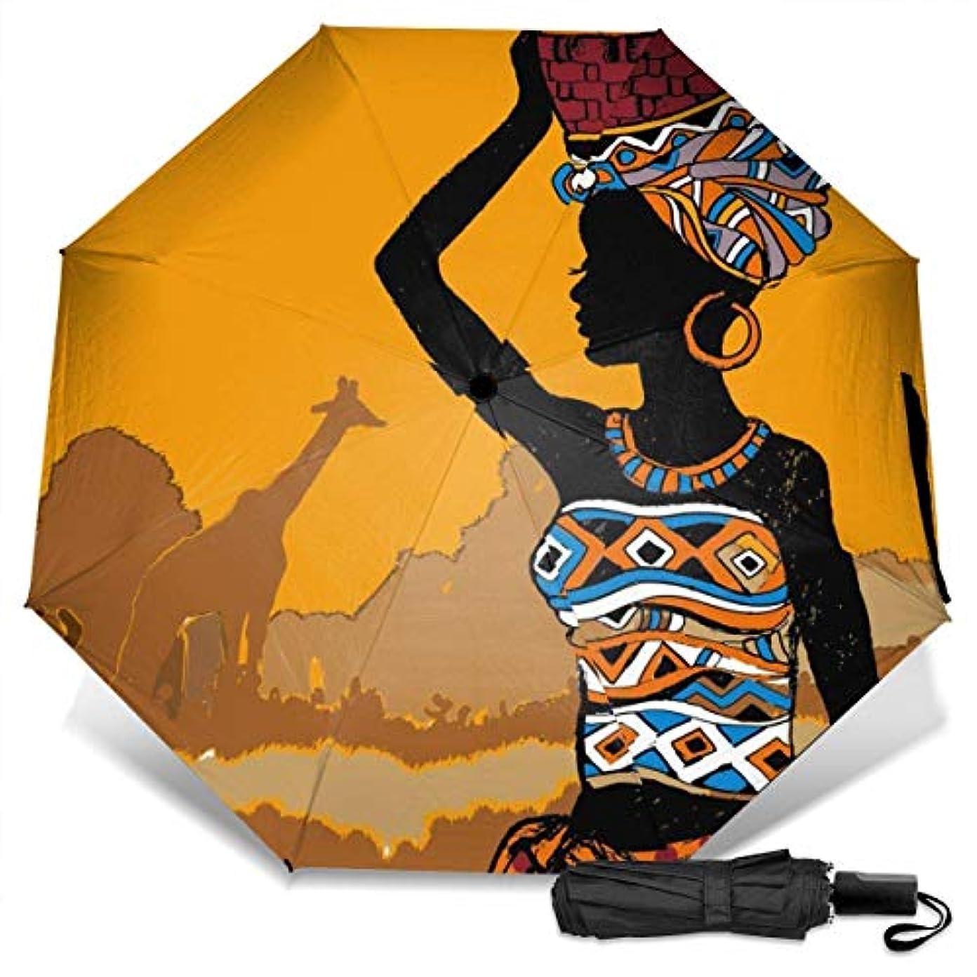 直面するミュウミュウジュースアフリカの女性の頭持株Stean折りたたみ傘 軽量 手動三つ折り傘 日傘 耐風撥水 晴雨兼用 遮光遮熱 紫外線対策 携帯用かさ 出張旅行通勤 女性と男性用 (黒ゴム)