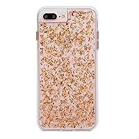 Case-Mate iPhoneケース (iPhone8plus / 7plus / 6s plus / 6plus) ハード スマホケース カバー [耐衝撃・ワイヤレス充電対応・二重構造] 透明 キラキラ 純金箔 カラット ローズゴールド