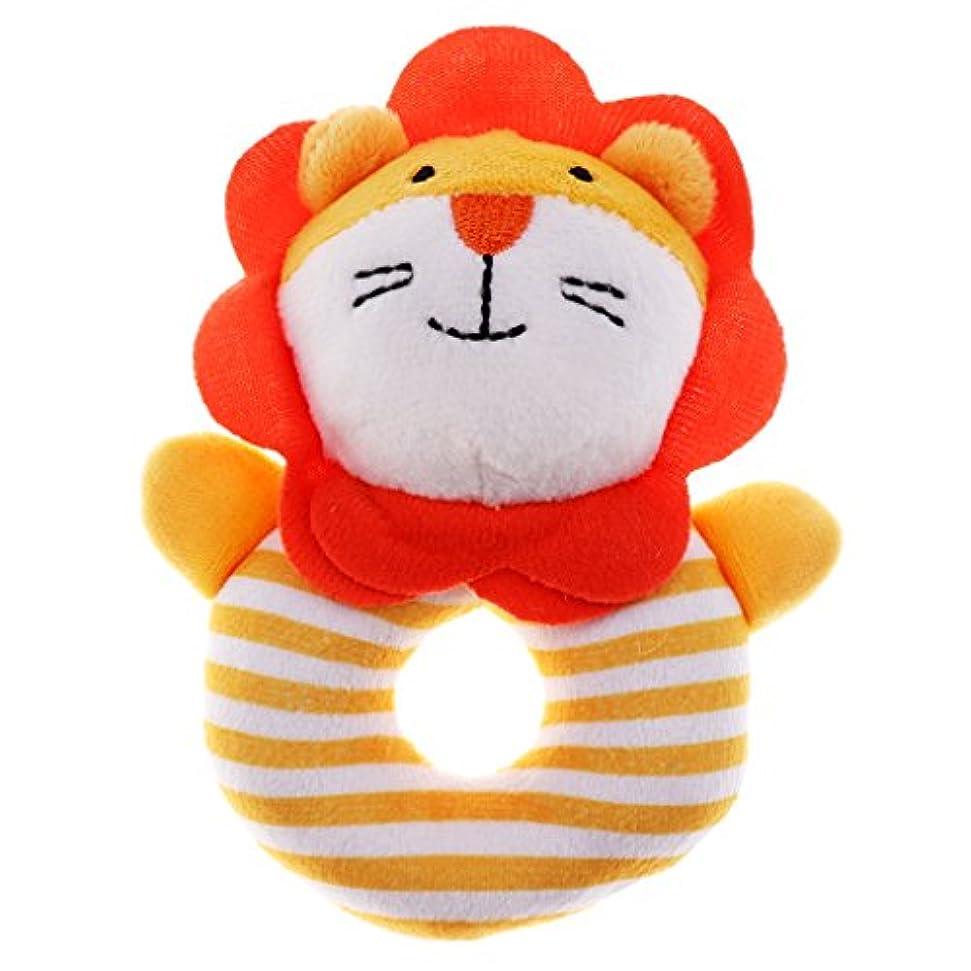 間に合わせブラウン眩惑する全6種類 赤ちゃん ハンドブック玩具 ぬいぐるみ教育玩具 - オレンジ, ジライオンの形